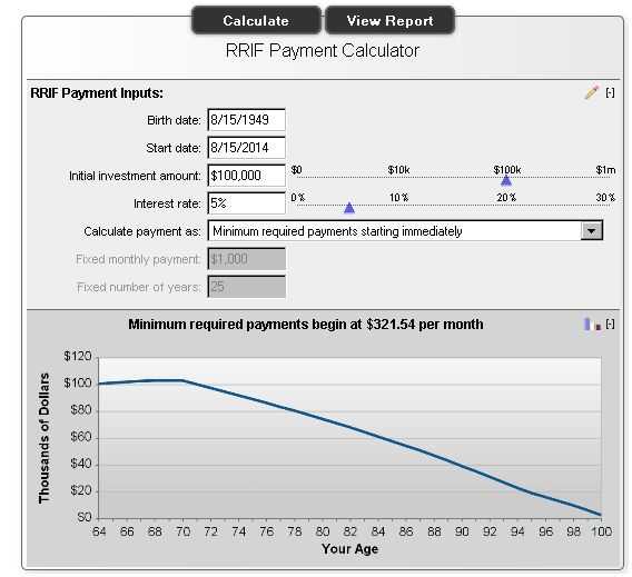 RRIF Payment Calculator